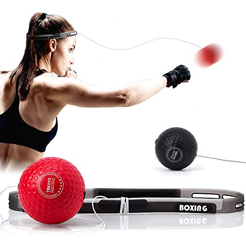 TEKXYZ Boxing Reflex Ball, 2/3 Different Levels Boxing Ball with Headband, Softer Than Tennis Ball, Perfect for Reaction, Agility, Punching Speed, Fight Skill and Hand Eye Coordination Training