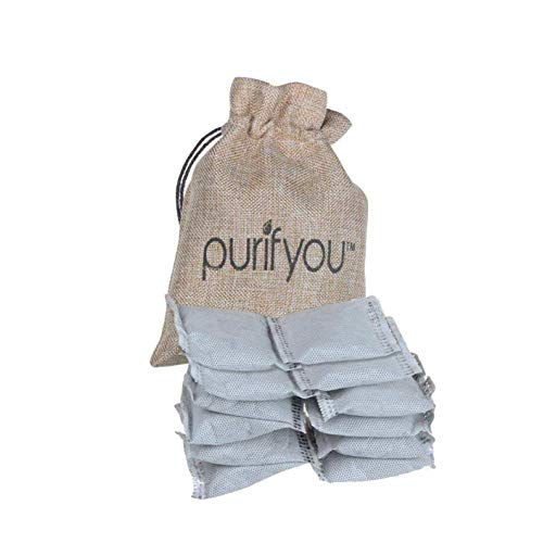 purifyou 100% All-Natural Activated Bamboo Charcoal Air Purifying Bag Diaper Pail Deodorizer Bags | Absorber For Diaper Genie, Ubbi, Shoes Closets, Cars, Refrigerators, Pets | Set of 12 Carbon Filters