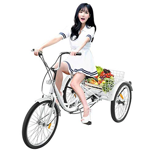 Adult Tricycles 7 Speed, Adult Trikes 24 3 Wheel Bikes, Three-Wheeled Bicycles Cruise Trike with Shopping Basket Cargo Basket for Seniors, Women, Men