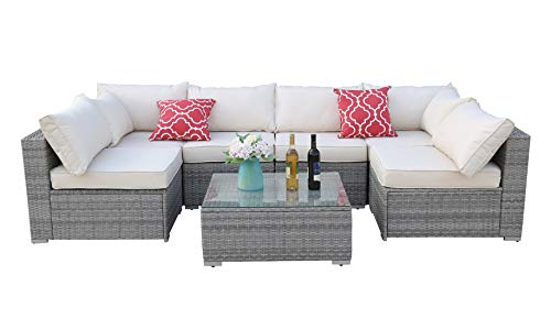 Do4U Patio Sofa 7-Piece Set Outdoor Furniture Sectional All-Weather Wicker Rattan Sofa Beige Seat & Back Cushions, Garden Lawn Pool Backyard Outdoor Sofa Wicker Conversation Set