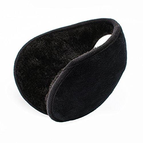 QXQY Ear Warmers Fleece Earmuffs Winter Double Layer Sponge Design Outdoor Ear Warmer for Men Women (Black)