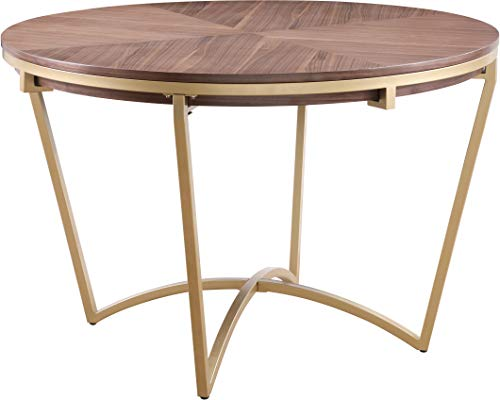 Meridian Furniture Eleanor Collection Modern | Contemporary Rich Walnut Veneer Dining Table with Brushed Gold Base in Natural Finish, 46' W x 46' D x 30' H