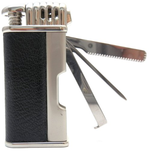 Mr. Brog Leather Tobacco Pipe Lighter and Czech Tool - All in One - Model LGHT08 Silver Black