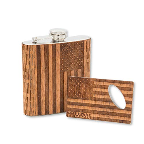 Real Wood 6 oz. Hip Flask AND Matching Credit Card Bottle Opener, American Flag