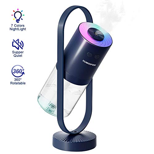 HIETON Desk Mini Portable Humidifier with 7 Colors Night Light, Auto Timing, Personal USB Cool Mist for Bedroom, Office, Car, Travel (Navy Blue)