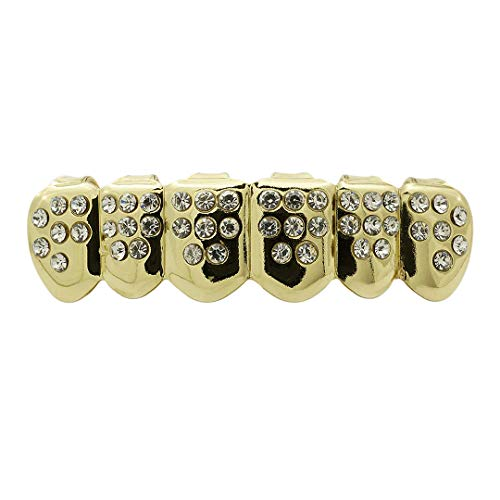 Niv's Bling  Iced Out CZ 14K Gold Plated Grillz  6 Tooth Dental Grills Set  Bottom Only