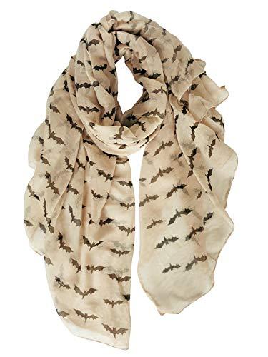 GERINLY Bat Print Women Scarfs Animal-themed Headwrap Scarves Goth Accessories (Khaki)