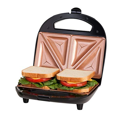 GOTHAM STEEL 2108 Maker, Toaster and Electric Panini Grill with Ultra Nonstick Copper Surface Makes Sandwich in Minutes with Virtually No Clean Up, Double