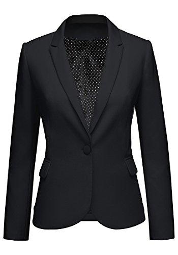 LookbookStore Women's Black Notched Lapel Pocket Button Work Office Blazer Jacket Suit Size M