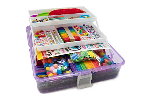 Olly Kids Arts and Crafts Supplies Set; Craft Box for Kids Ages 4-8, DIY Craft Supplies for Toddlers, School Project, and Crafting Collage Art