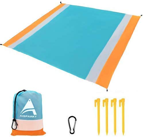 AISPARKY Beach Blanket, Beach Mat Outdoor Picnic Blanket Large Sand Free Compact for 4-7 Persons Water Proof and Drying Beach Mat Nylon Pocket Picnic for Outdoor Travel (78' X 81')
