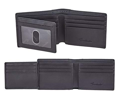 Travelambo Genuine Leather RFID Blocking Wallets Mens Wallet Bifold Left ID (Black)