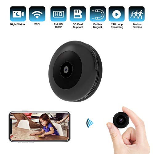Smart Security Camera Mini Wireless WiFi Hidden Camera with Audio and Video, HD 1080P Tiny Nanny Cam Security/Surveillance Camera with Motion Detection and Night Vision for Home, Office, Car and More