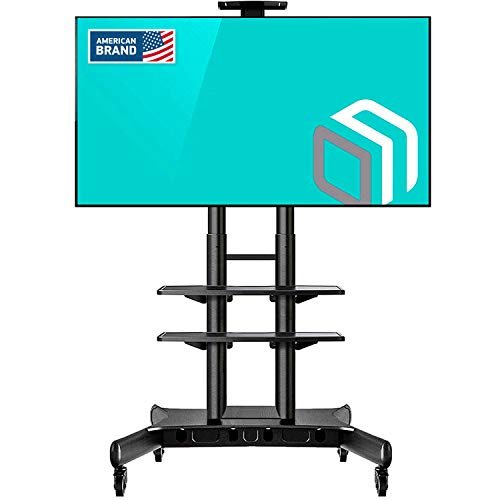 ONKRON Mobile TV Stand with Wheels Rolling TV Cart for 55 to 80 Inch LCD LED Flat Panel TVs (TS1881)