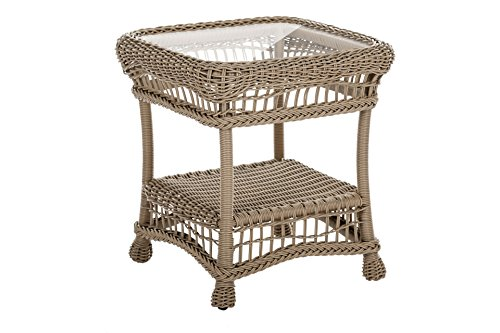 W Unlimited Saturn Collection Garden Cappuccino Wicker Outdoor Furniture Conversation Set Beige Cushion (End Table)