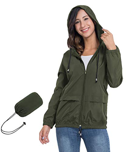 JTANIB Women's Lightweight Packable Waterproof Hooded Rain Jacket S-XXL Army Green