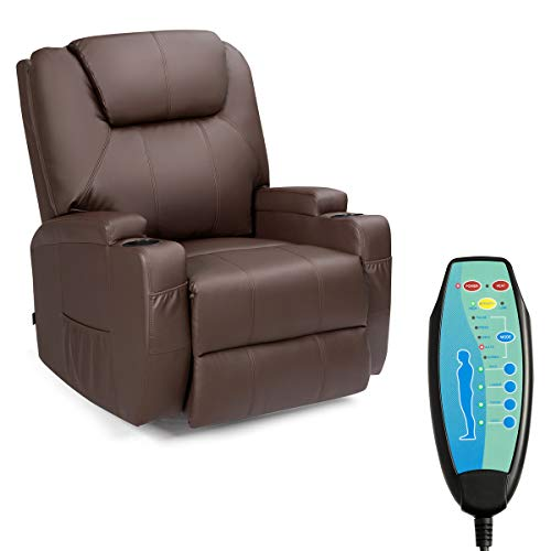 Tangkula Electric Massage Recliner Chair, 360 Degree Swivel Heated Chair, Adjustable Accent Armchair, Modern Vibrating Sofa, Padded Cushion, Home Theater Seating,Leisure Lounge (Coffee)