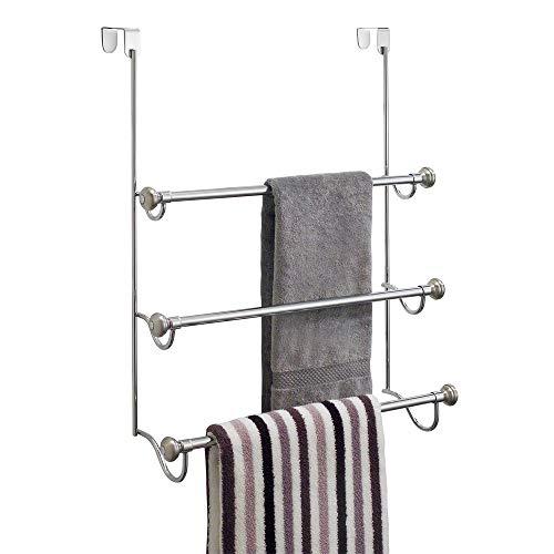 iDesign York Over the Shower Door Towel Rack for Bathroom, 1.5' x 7' x 22.8', Chrome/Brushed