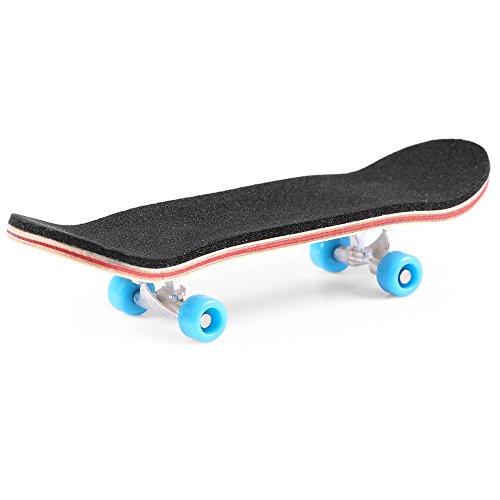 BISOZER Mini Finger Skateboard  Wooden Finger Board Ultimate Sport Training Props in Light Brown with Ball Bearings -1 Pack (Random Color Bearing Wheels)