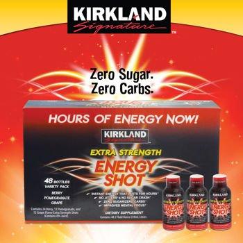 Kirkland Signature Extra Strength Energy Shot, Dietary Supplement: 48 Bottles Variety Pack of 2 Fl Oz