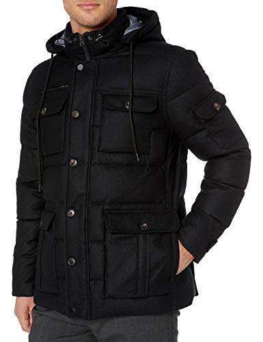 Amazon Brand - Buttoned Down Men's Water Repellant Duck Down Wool Flannel Parka, Black XXX-Large