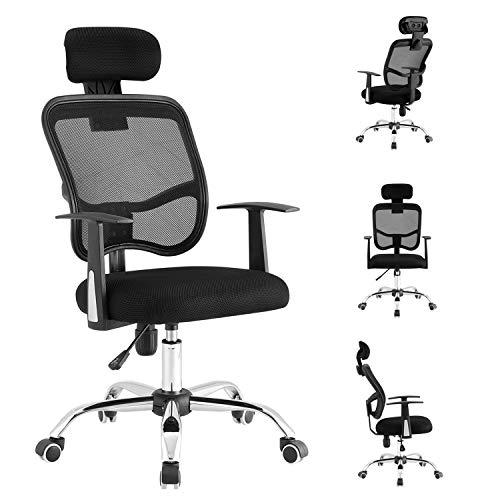 LIONROAR Office Chair Computer Chair Task Chair Executive Chair with Lumbar Support Armrest Breathable Mesh Back Adjustable Headrest Ergonomic Office Chair(Black)