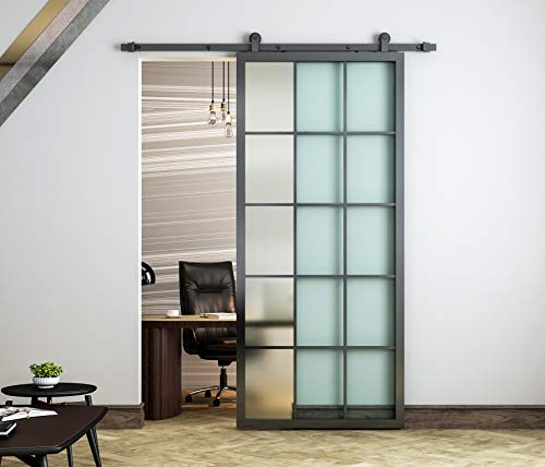DIYHD 36x84' Black Aluminum Frame Glass Sliding Barn Door Slab Interior Clear Tempered Glass Partition Door Panel(Disassembled,No Sliding Hardware)