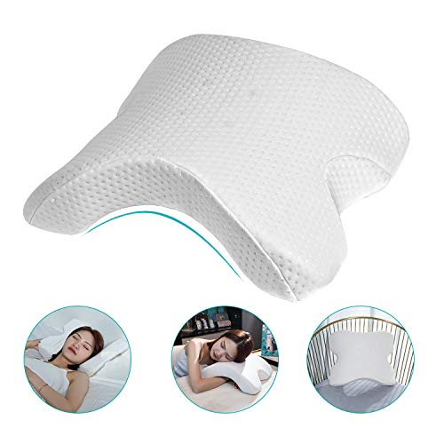 HOMCA Memory Foam Neck Pillow - Arched Couple Pillow for Side Sleeper Neck Back Pain Lumbar Support Office Rest Pillow