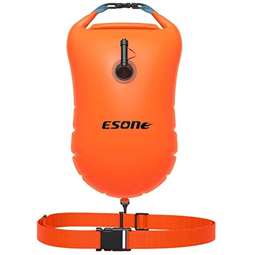 ESONE Swim Buoy - Open Water Swim Buoy Flotation Device with Dry Bag and Waterproof Cell Phone Case for Swimmers, Triathletes, and Snorkelers. Floats for Safer Swims 15L (Orange)