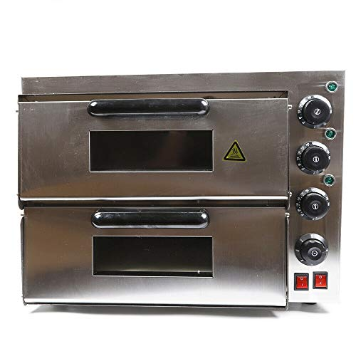 Electric Pizza Oven Countertop Pizza Ovens Stainless Steel Pizza Ovens w/Doublee Layer/Deck Time/Temperature Control Pizza Oven for Home/Commercial Kitchen 110V 3000W