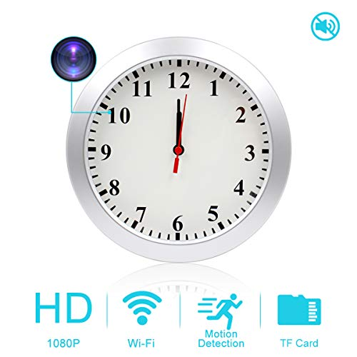 AMCSXH HD 1080P WiFi Hidden Camera Wall Clock with Motion Detection, Security for Home and Office, Nanny Cam/Pet Cam/Wall Clock Cam, Remote-Real Time Video, Support iOS/Android, Video only