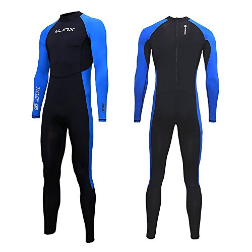 Full Body Dive Wetsuit Sports Skins Lycra Rash Guard for Men Women, UV Protection Long Sleeve One Piece Swimwear for Snorkeling Surfing Scuba Diving Swimming Kayaking Sailing Canoeing (L)