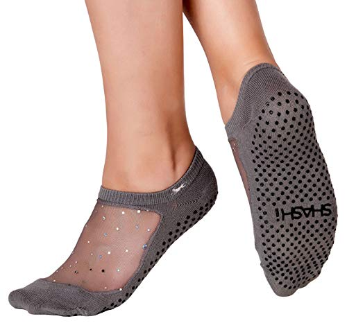 Shashi Star Women's Sparkle Mesh Grip Socks Pilates Barre Yoga Dance Non-Slip Socks