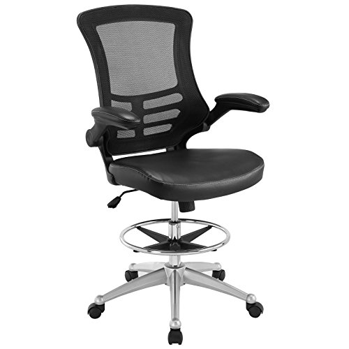 Modway EEI-1422-BLK Attainment Vinyl Drafting Chair - Drafting Stool With Flip-Up Arm in Black