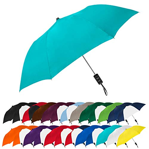 STROMBERGBRAND UMBRELLAS Spectrum Popular Style Automatic Open Small Light Weight Portable Compact Travel Folding Umbrella for Men and Women, (Teal Blue)