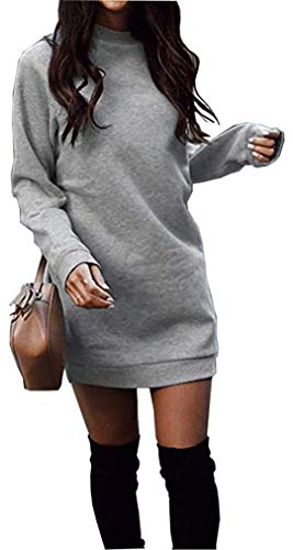 Miselon Women's Winter Tops Long Sweatshirt Dresses Pullover Tunic Dresses (Gray, Large)