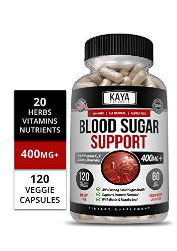 Kaya Naturals Blood Sugar Support Supplement, 120 Count Capsules, 20 Herbs, Alpha Lipoic Acid & Cinnamon (120 Capsules)