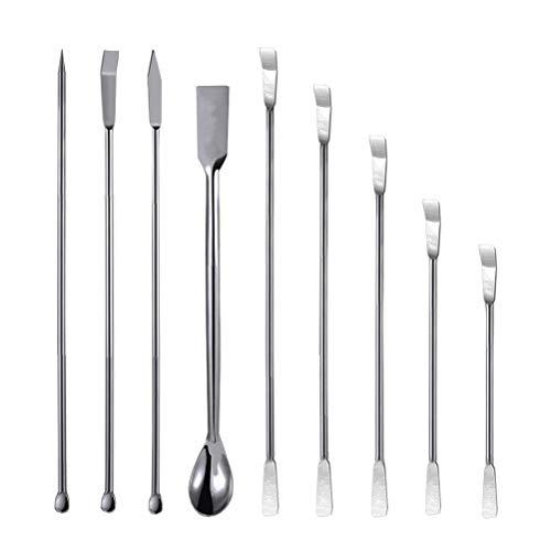 9 Pack Stainless Steel Lab Spatula,Micro Lab Spoon Laboratory Mixing Spatula Set, by Asonlye