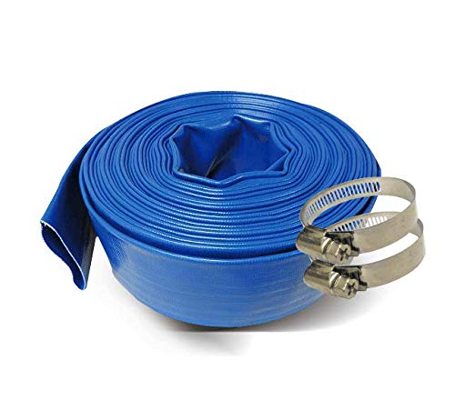 Schraiberpump 1.5-Inch by 100-Feet- General Purpose Reinforced PVC Lay-Flat Discharge and Backwash Hose - Heavy Duty (4 Bar) 2 CLAMPS INCLUDED