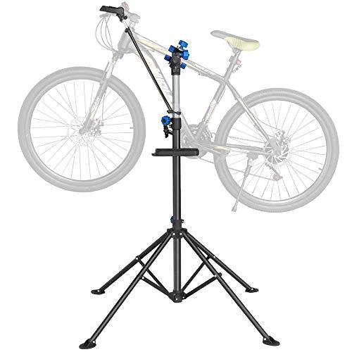 Yaheetech Pro Mechanic Bicycle Repair Workshop Stand Foldable Maintenance Rack w/ Tool Tray Height Adjustble Extensible Bike Repair Rack for Road & Mountain Bikes