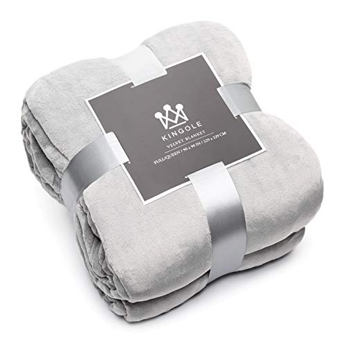 Kingole Flannel Fleece Microfiber Throw Blanket, Luxury Grey Queen Size Lightweight Cozy Couch Bed Super Soft and Warm Plush Solid Color 350GSM (90 x 90 inches)