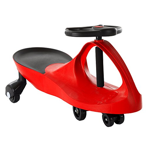 Ride On Car, No Batteries, Gears or Pedals, Uses Twist, Turn, Wiggle Movement to Steer Zigzag Car-Red, for Toddlers, Kids, 2 Years Old and Up