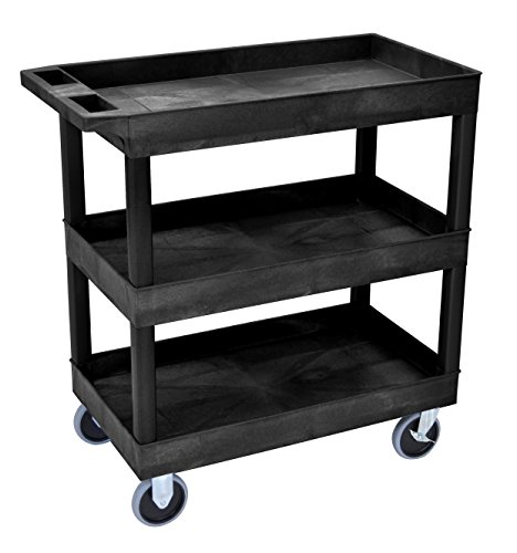 Luxor HD High Capacity 3 Tub Shelves Cart in Black, 18'D x 32'W