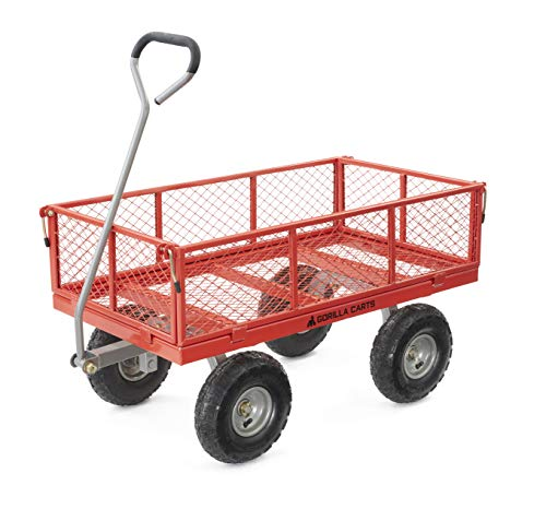 Gorilla Carts GOR800-COM Steel Utility Cart with Removable Sides, 800-lbs. Capacity, Red