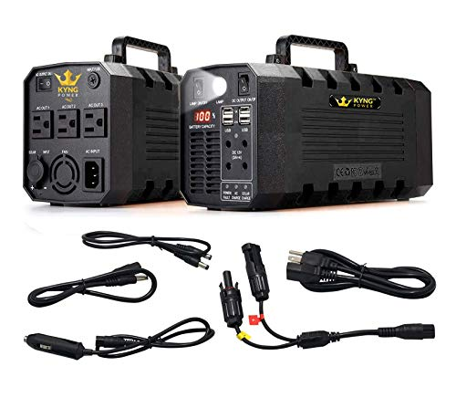 Kyng Power Solar Generator Portable Power Station UPS Battery 500W Continuous Emergency, Tradeshow Battery Powered Inverter 12V, 3 AC, 4 USB Outlets Free Solar Panel Cable, Camping, CPAP