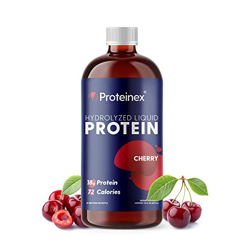 Liquid Protein Hydrolyzed by Proteinex 18 Grams of Protein 30 Oz No Fat, Sugar Free, No Carbs. Predigested Hydrolysate Supplement. Supports Recovery Surgery Treatment Muscles and Joints (30, Cherry)