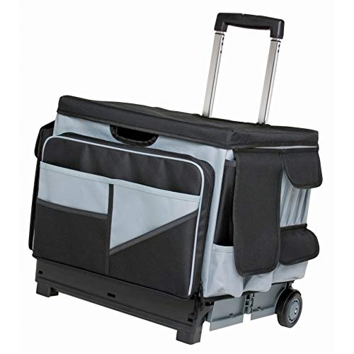 ECR4Kids MemoryStor Universal Rolling Cart and Organizer Bag Set, Black/Gray, Black/gray, 17.50' x 15.75' x 16.50' (763960528426)