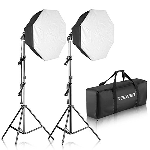 Neewer 700W Octagon Softbox Continuous Lighting Kit for Camera Photo Video Photography, Includes: (2)32x32 inches/80x80 centimeters Softbox, (2)85W 5500K Light Bulb, (2)Light Stand, (1)Carrying Bag
