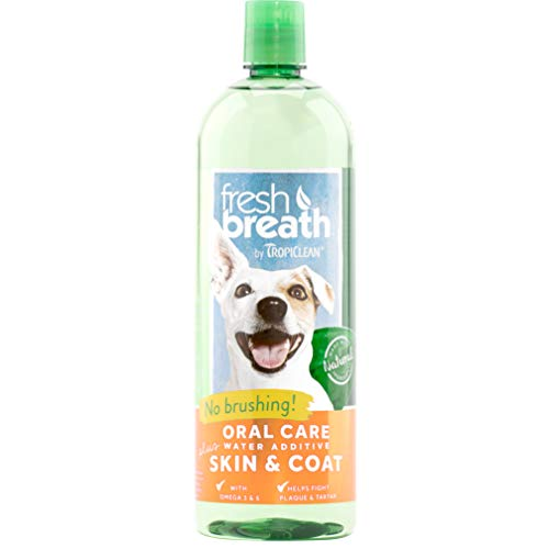 Fresh Breath by TropiClean Oral Care Water Additive Plus Skin & Coat for Pets, 33.8oz - Made in USA