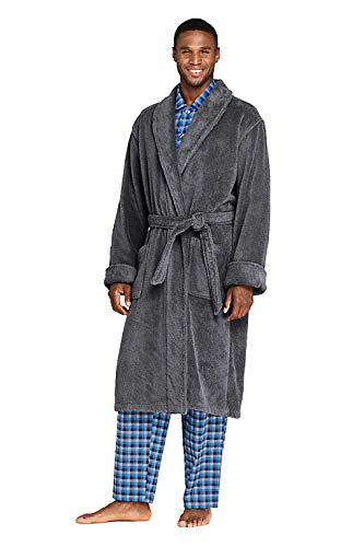 Lands' End Mens Calf Length Terry Robe Rich Steel Regular X-Large